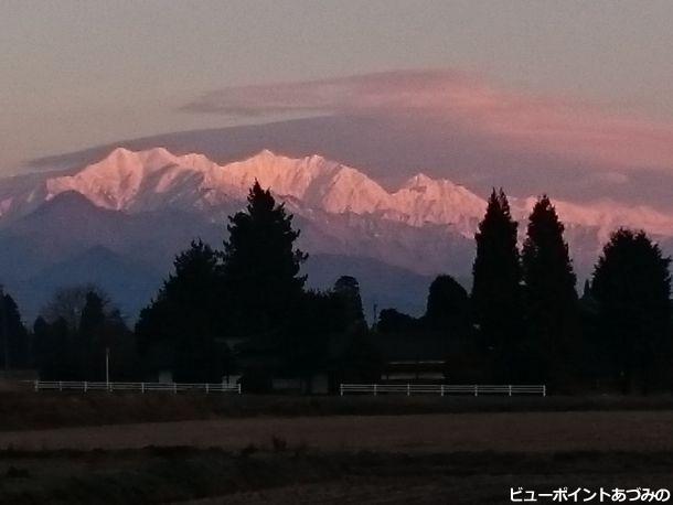 後立山連峰の朝焼け