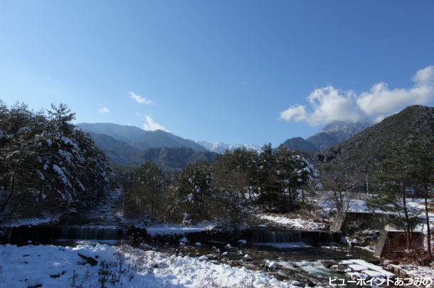 中房渓谷冬景色