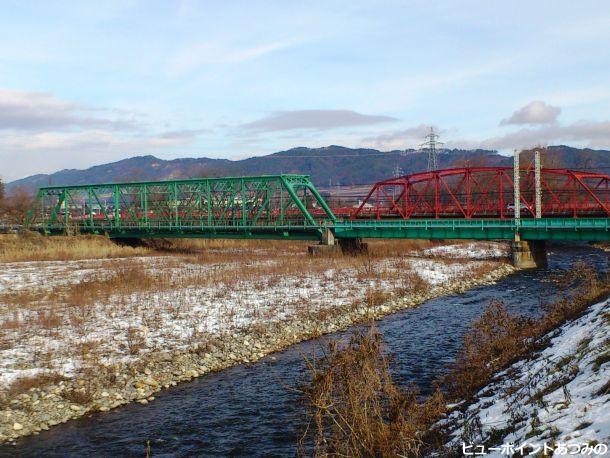 穂高川の鉄橋