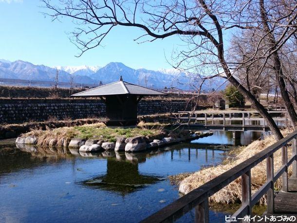 湧水と信濃富士