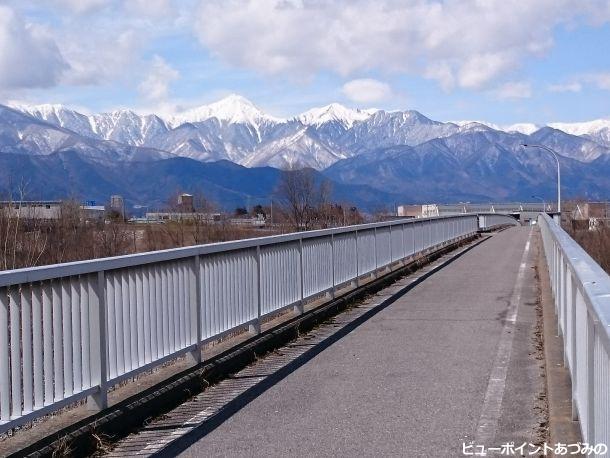 自転車道と北アルプス
