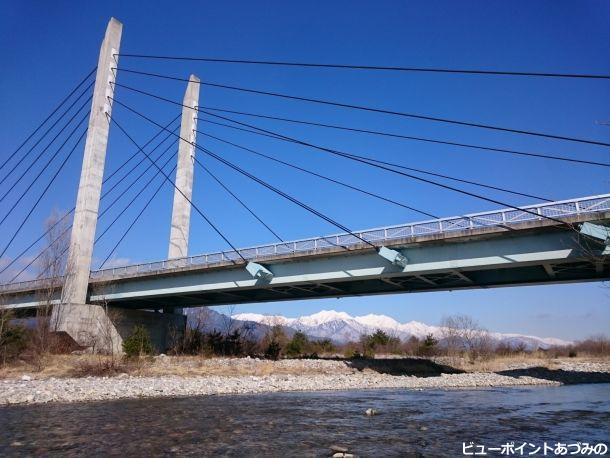 斜張橋と後立山連峰