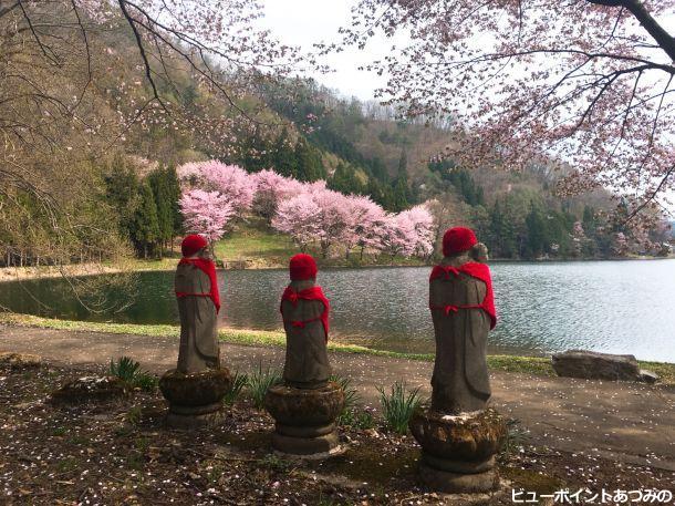 地蔵と中綱湖