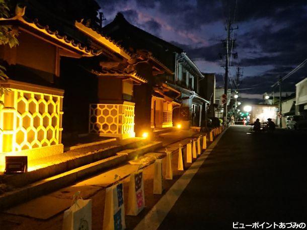 黄昏時の旧穂高宿