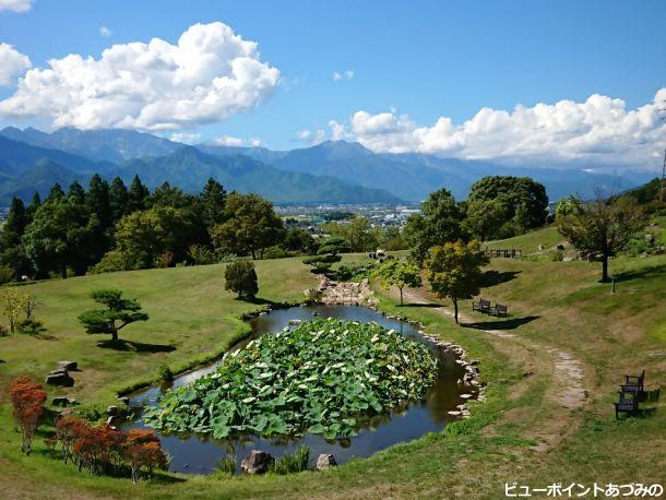 蓮池と後立山連峰