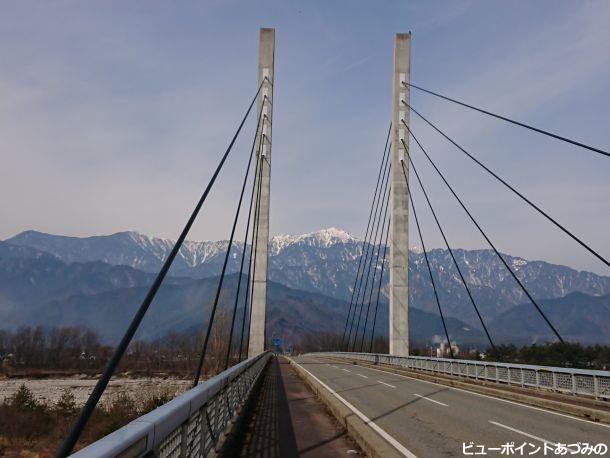 斜張橋と餓鬼岳