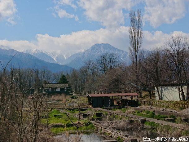 旧鱒池と有明山