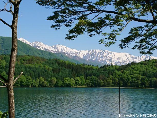 湖畔から望む白馬三山