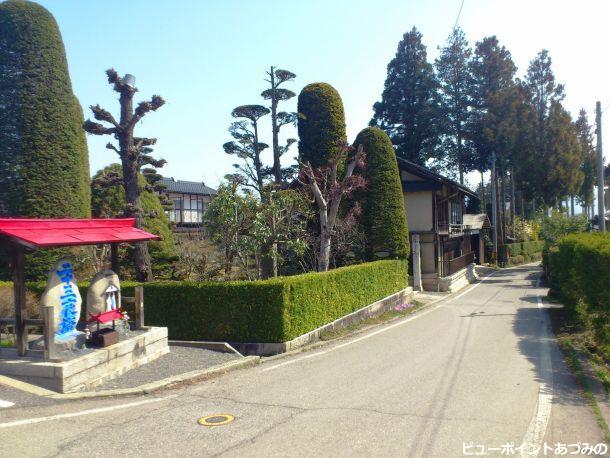 彩色道祖神と屋敷林