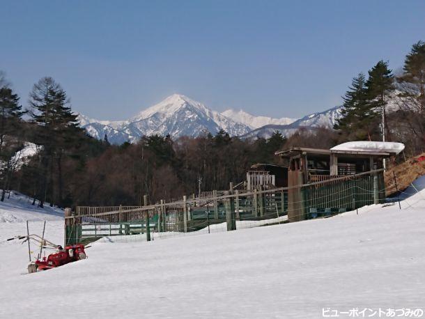 雪の農園と蓮華岳