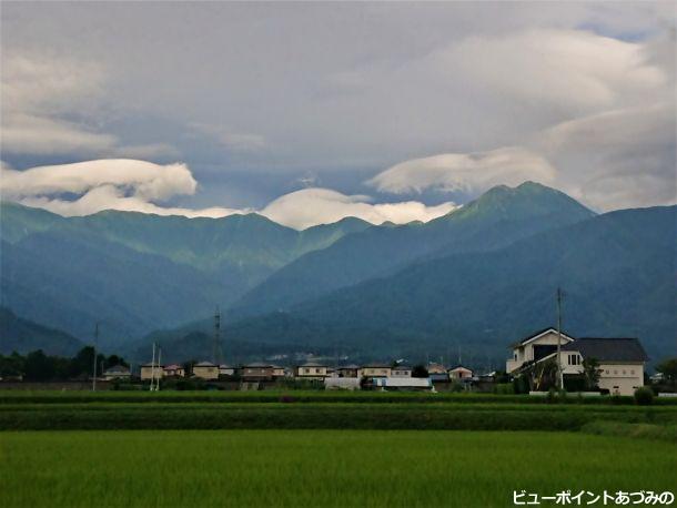 湧きたつ雲と常念岳