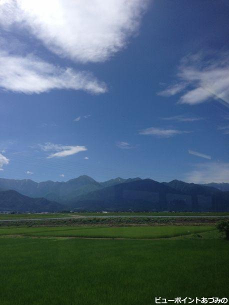 夏の空、常念岳と田園