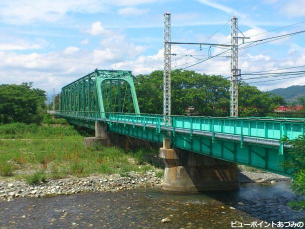 夏の穂高川トラス橋