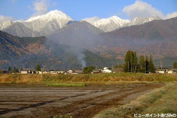 冬支度の常念岳山麓