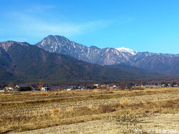 冬の有明山と餓鬼岳
