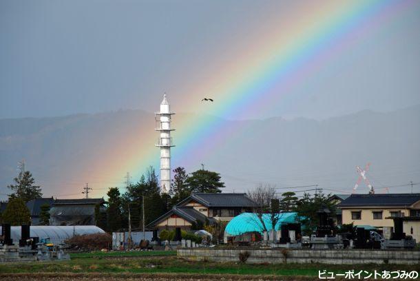 安曇野に掛かる虹